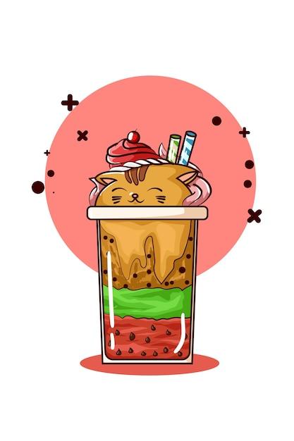 Ilustração de sorvete em forma de gato Vetor Premium