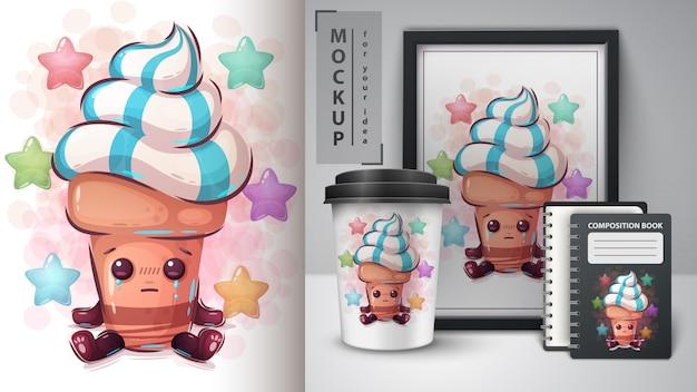 Ilustração de sorvete fofo e merchandising Vetor Premium