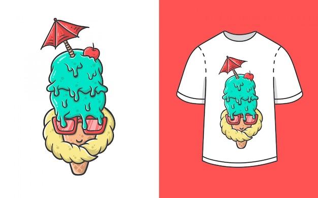 Ilustração de sorvete para design de camiseta Vetor Premium