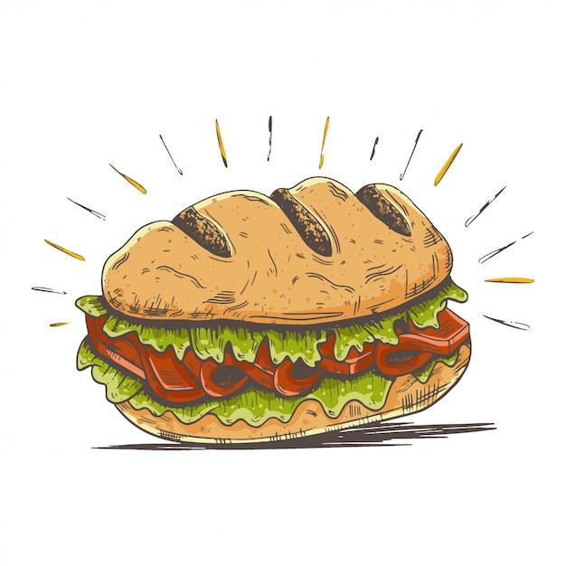 Ilustração de sub hambúrguer dos desenhos animados Vetor Premium