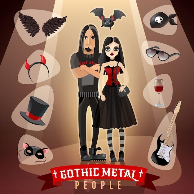 Ilustração de subcultura de pessoas de metal gótico Vetor grátis