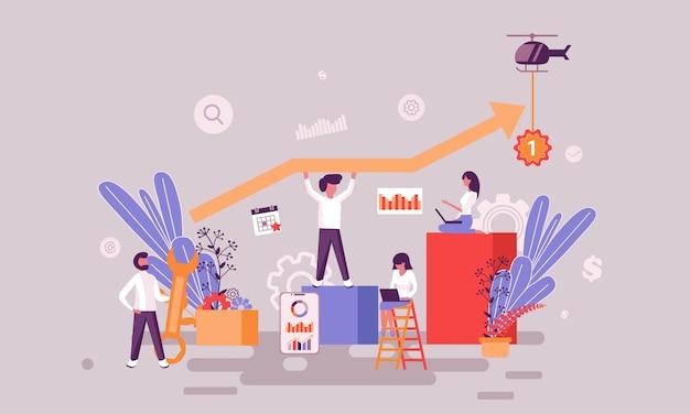 Ilustração de sucesso da equipe Vetor Premium