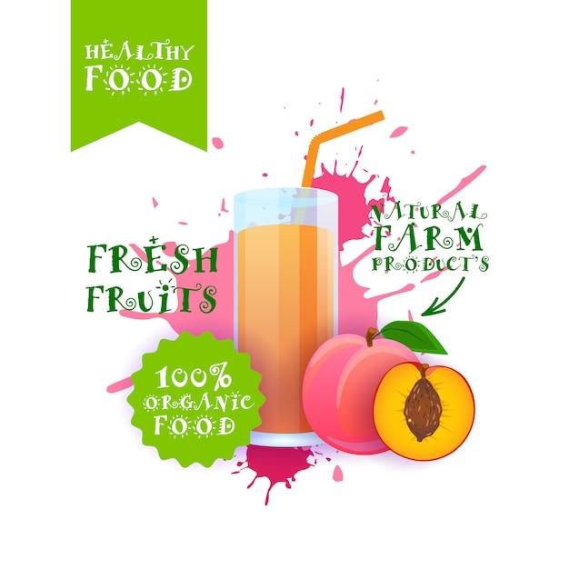 Ilustração de suco de pêssego fresco etiqueta de produtos de fazenda natural de alimentos sobre respingo de tinta Vetor Premium