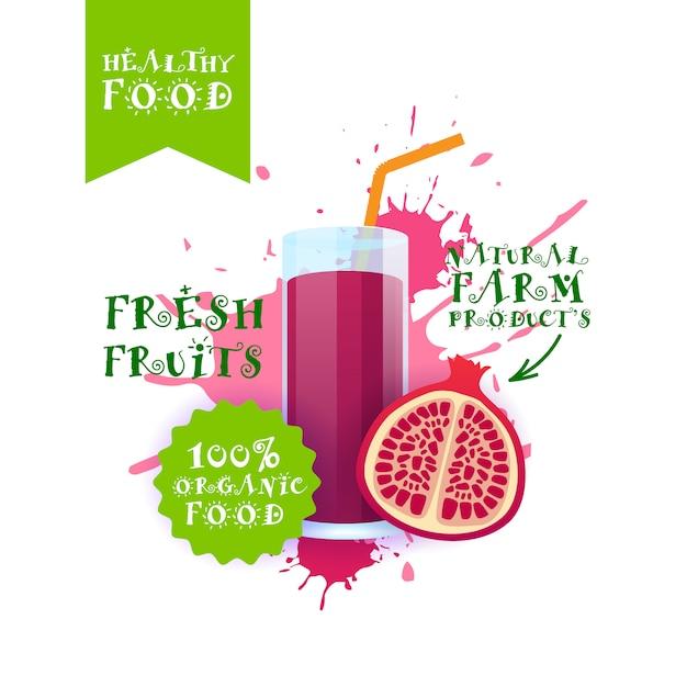 Ilustração de suco de romã fresca etiqueta de produtos de fazenda natural de alimentos sobre respingo de tinta Vetor Premium