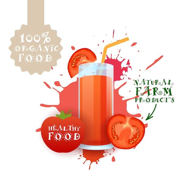 Ilustração de suco de tomate fresco rótulo de produtos de fazenda natural food sobre respingo de tinta Vetor Premium