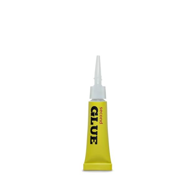 Ilustração de super cola de recipiente metálico amarelo realista 3d de adesivo instantâneo Vetor grátis