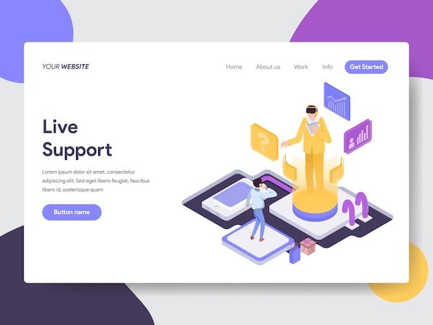 Ilustração de suporte ao vivo para páginas da web Vetor Premium