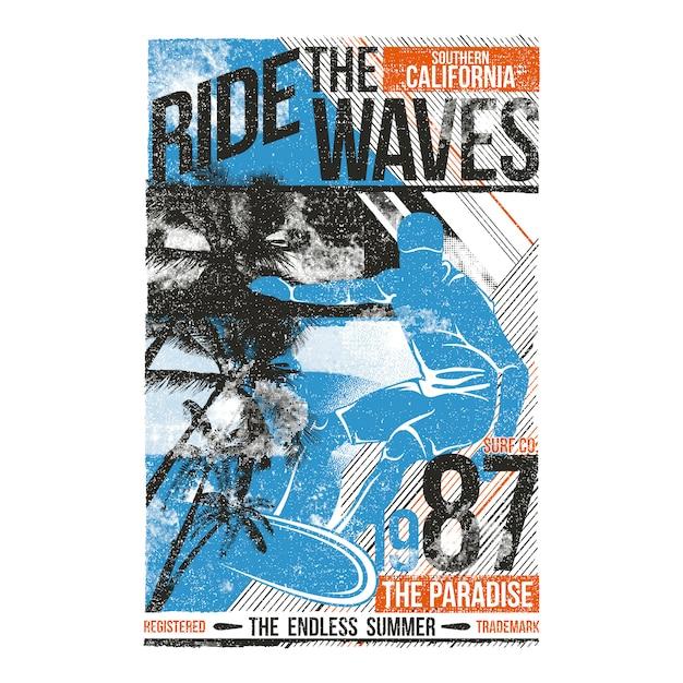Ilustração de surf passeio as ondas Vetor Premium