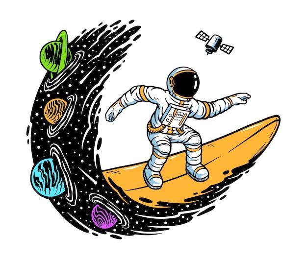 Ilustração de surfar no universo Vetor Premium