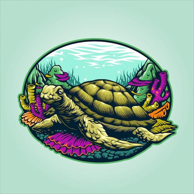 Ilustração de tartaruga submarina Vetor Premium