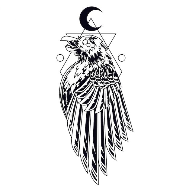 Ilustração de tatuagem de corvo preto e branco Vetor Premium