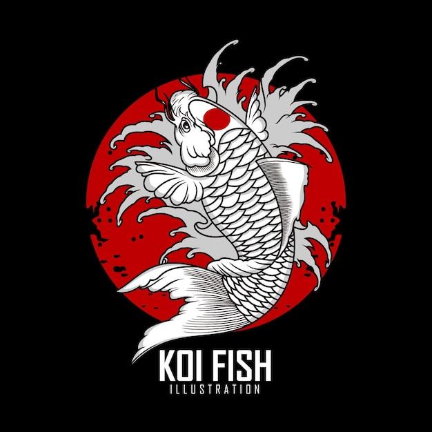 Ilustração de tatuagem de peixe koi Vetor Premium