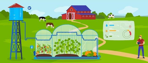 Ilustração de tecnologia de agricultura moderna com efeito de estufa. Vetor Premium