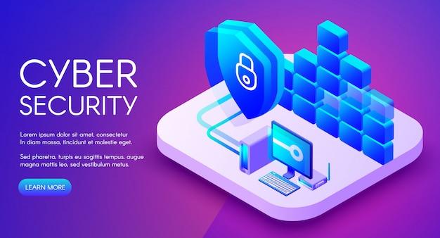 Ilustração de tecnologia de segurança cibernética de acesso seguro à rede privada e firewall da internet Vetor grátis
