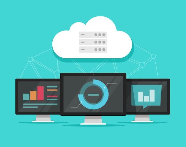 Ilustração de tecnologia de servidores de dados de computação em nuvem Vetor Premium