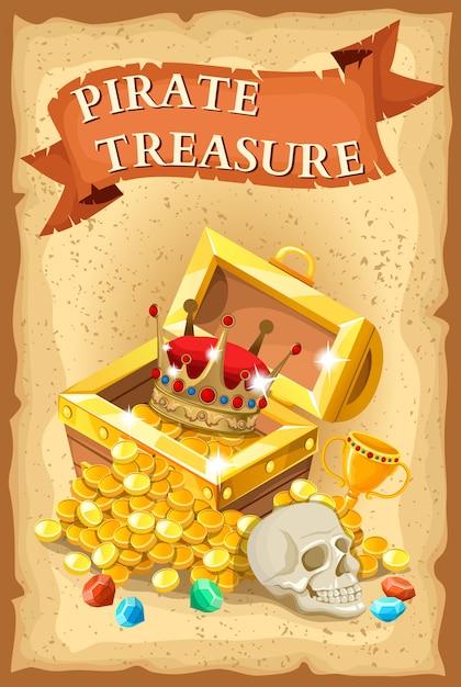 Ilustração de tesouro pirata Vetor grátis
