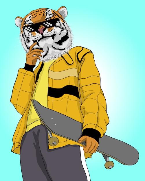 Ilustração de tigre legal desenhada de mão. Vetor Premium
