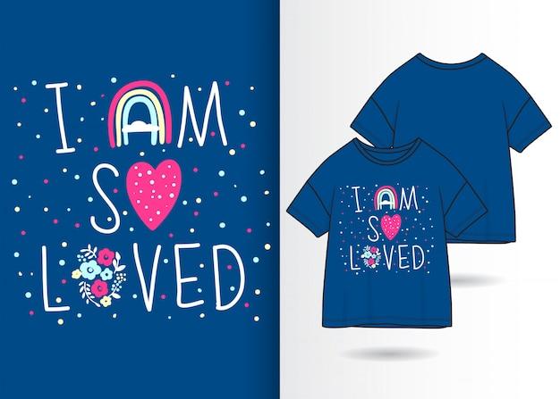 Ilustração de tipografia bonito com design de camisa de t Vetor Premium