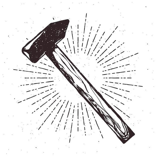 Ilustração de tipografia vintage martelo com efeito sunburst e grunge. selo vectir Vetor Premium