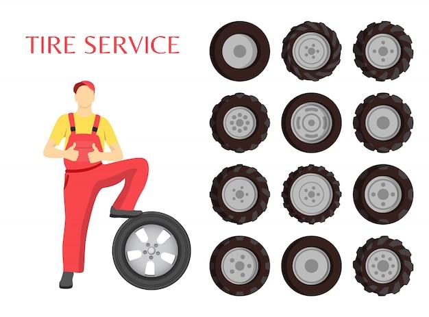 Ilustração de trabalhador de serviço de pneu Vetor Premium
