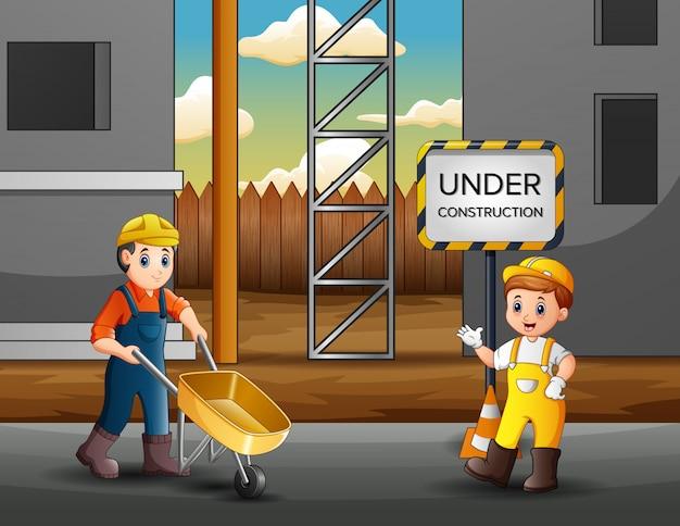 Ilustração de trabalhadores da construção civil em um canteiro de obras Vetor Premium