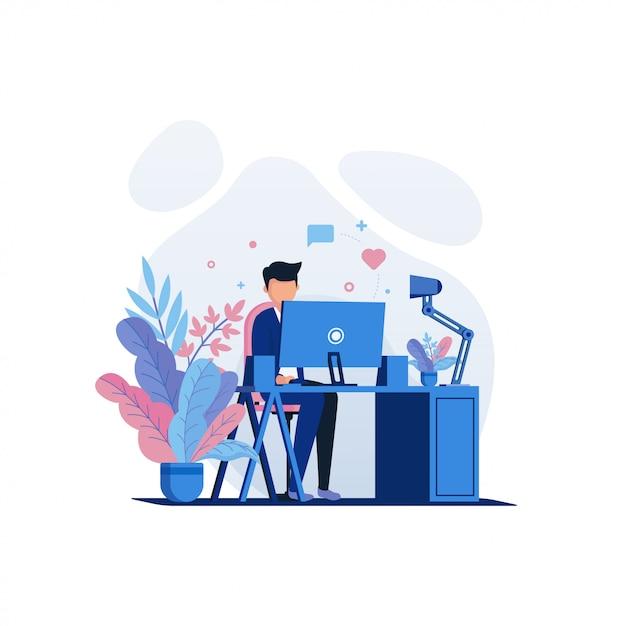 Ilustração de trabalho e escritório Vetor Premium