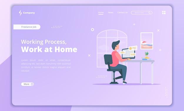 Ilustração de trabalho em casa para o conceito de freelancer no modelo de página de destino Vetor Premium