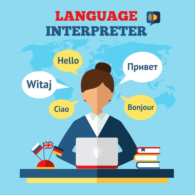 Ilustração de tradutor de linguagem Vetor grátis