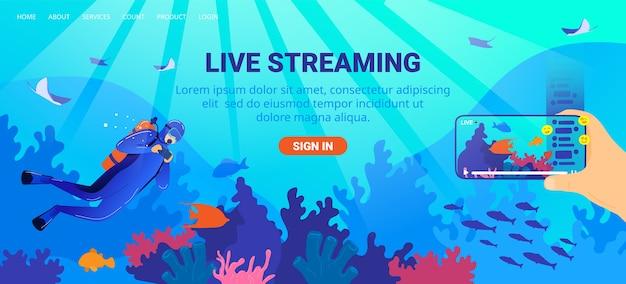 Ilustração de transmissão ao vivo. Vetor Premium