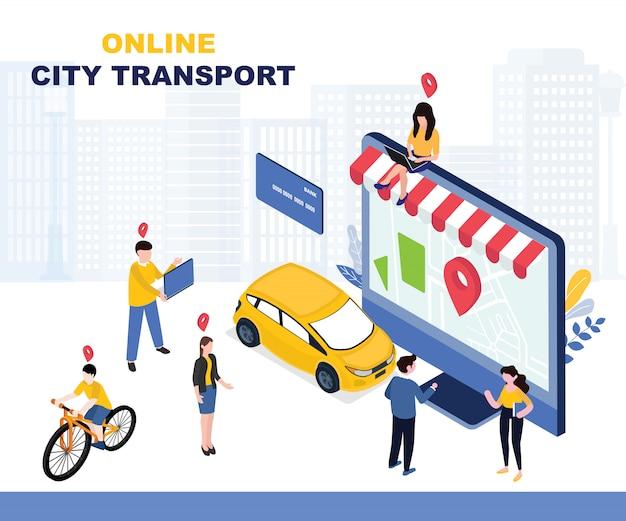 Ilustração de transporte da cidade Vetor Premium