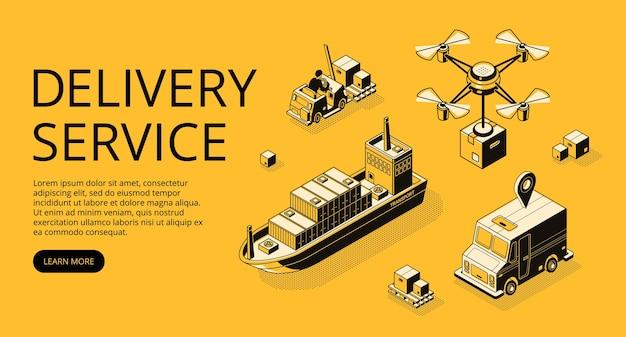 Ilustração de transporte de serviço de entrega de frete aéreo, carga de navio ou drone e caminhão Vetor grátis