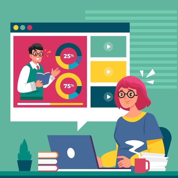 Ilustração de tutoriais on-line de design plano Vetor Premium