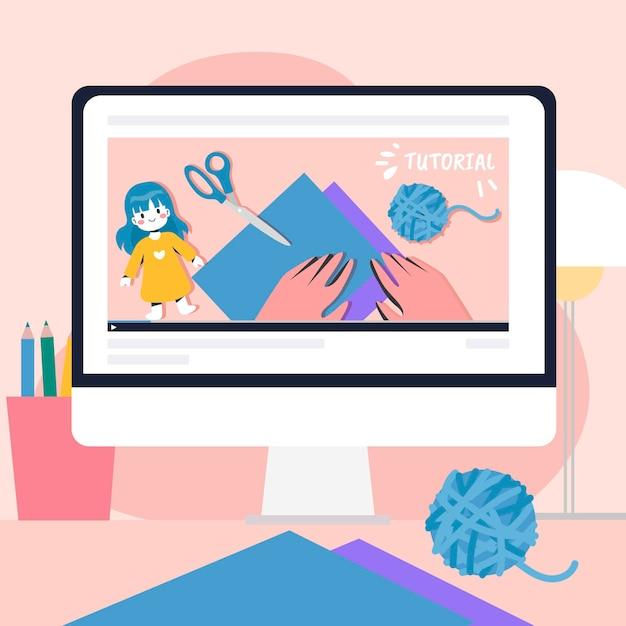 Ilustração de tutorial on-line design plano Vetor grátis
