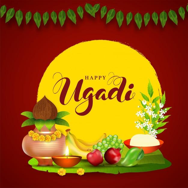 Ilustração de ugadi feliz com pote de adoração de cobre (kalash), frutas, lâmpada de óleo iluminada, folhas de neem, tigela de flor e sal em vermelho e amarelo Vetor Premium