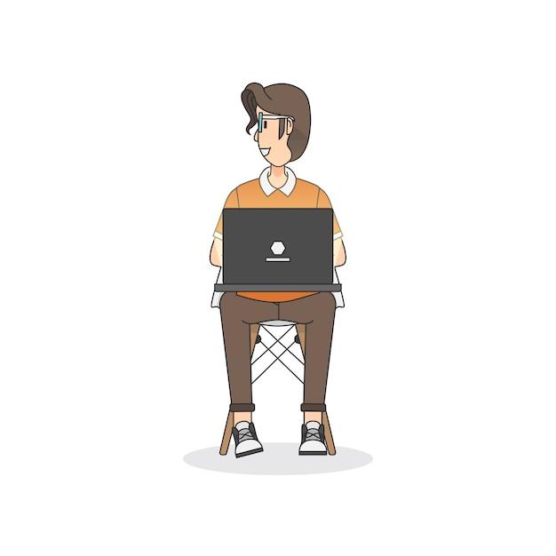 Ilustração, de, um, assento homem, ligado, um, cadeira Vetor grátis