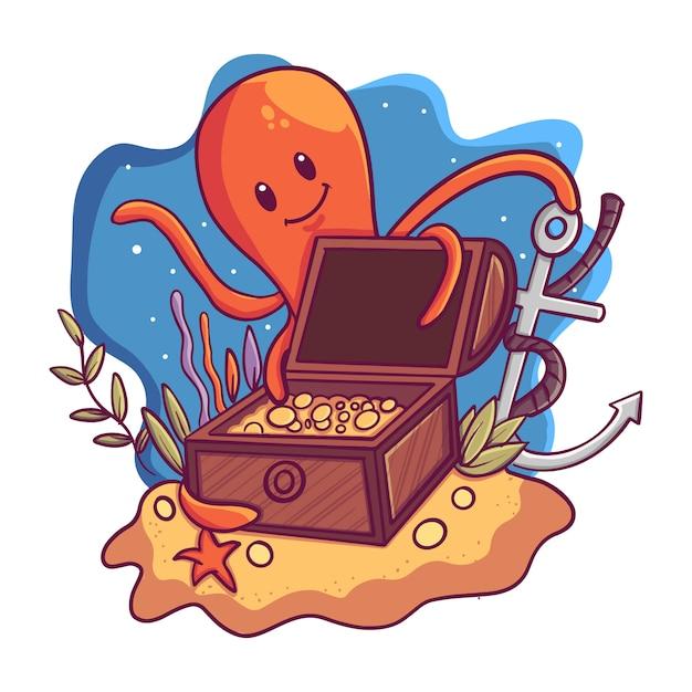 Ilustração, de, um, caixa tesouro, sob, a, mar, com, um, polvo Vetor Premium