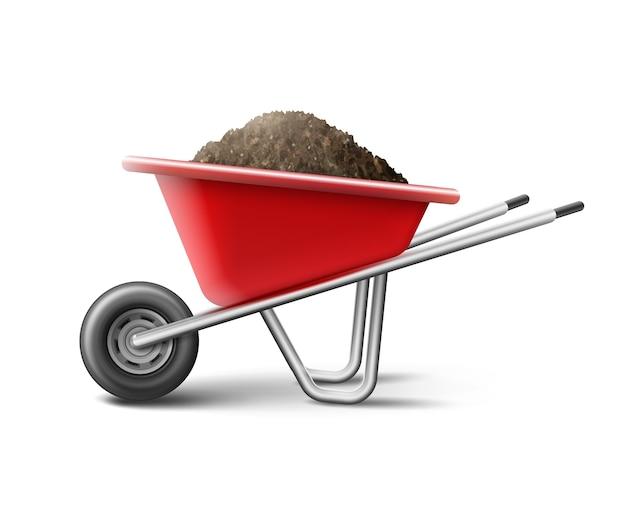 Ilustração de um carrinho de mão vermelho para jardinagem cheio de terra Vetor grátis