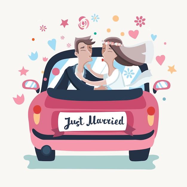 Ilustração de um casal de noivos dirigindo um carro rosa em uma viagem de lua de mel Vetor Premium