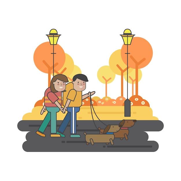 Ilustração de um casal passeando com seus cachorros Vetor grátis