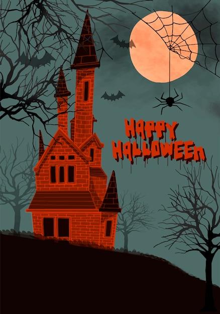 Ilustração de um castelo no fundo da noite para o halloween Vetor grátis