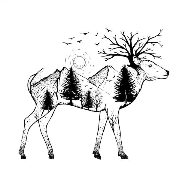 Ilustração de um cervo com fundo de floresta Vetor Premium