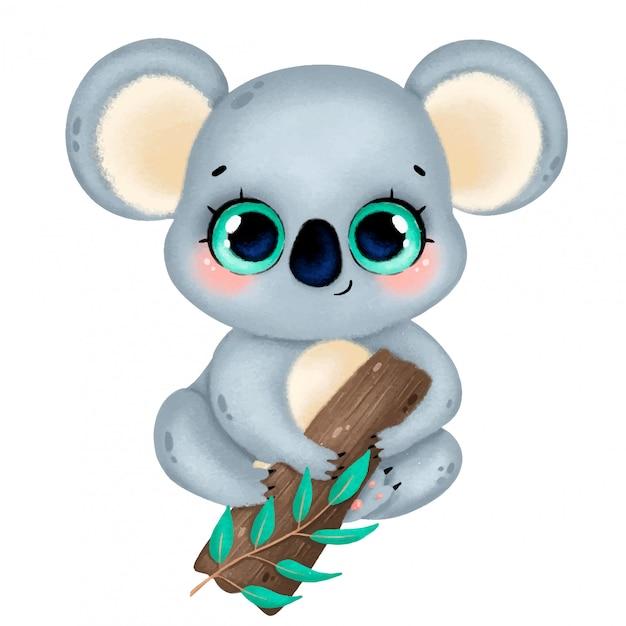Ilustração de um coala bonito dos desenhos animados com olhos grandes, sentado em uma árvore isolada Vetor Premium