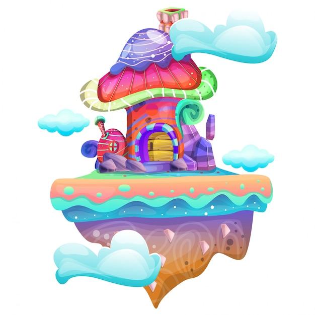 Ilustração, de, um, cogumelo, casa Vetor Premium