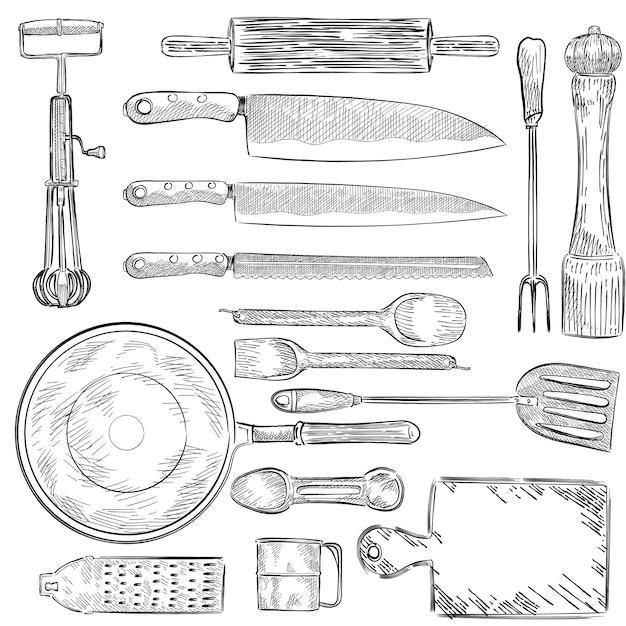 Ilustração de um conjunto de utensílios de cozinha Vetor grátis