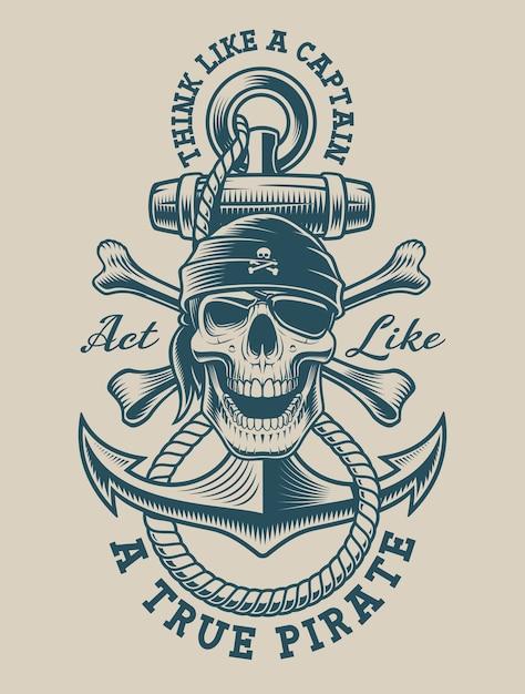 Ilustração de um crânio de pirata com âncora vintage. perfeito para logotipos, design de camisetas e muitos outros usos Vetor Premium