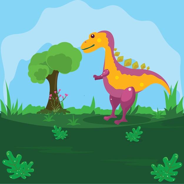 Ilustração de um dinossauro em uma terra verde com um fundo de céu azul Vetor Premium
