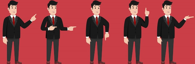 Ilustração de um empresário feliz mostrando algo ou apresentar algo Vetor Premium