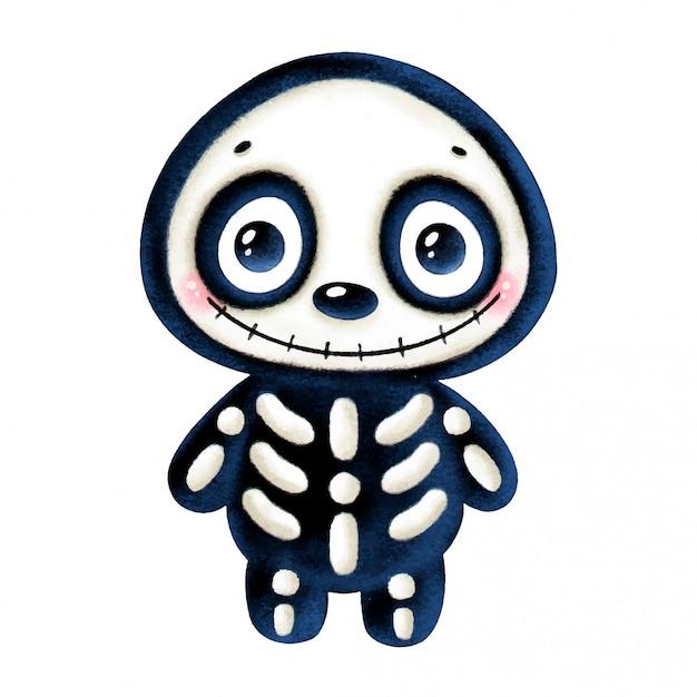 Ilustração de um esqueleto sorridente de halloween bonito dos desenhos animados isolado Vetor Premium