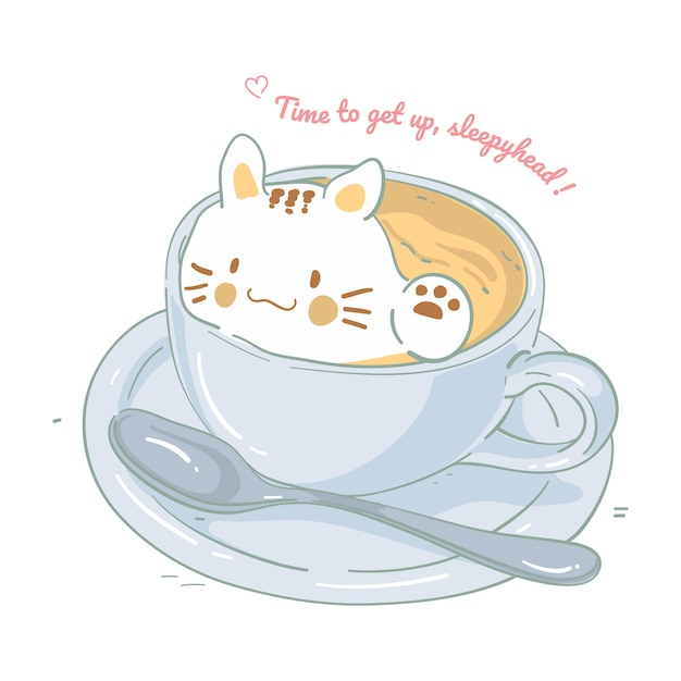 Ilustração de um gato na xícara de café, ilustração vetorial Vetor Premium