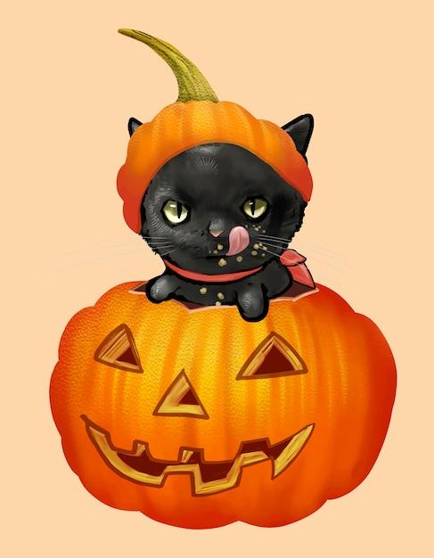 Ilustração de um gato preto no ícone de abóbora para o halloween Vetor grátis
